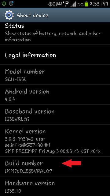 Galaxy  S3 Číslo zostavy