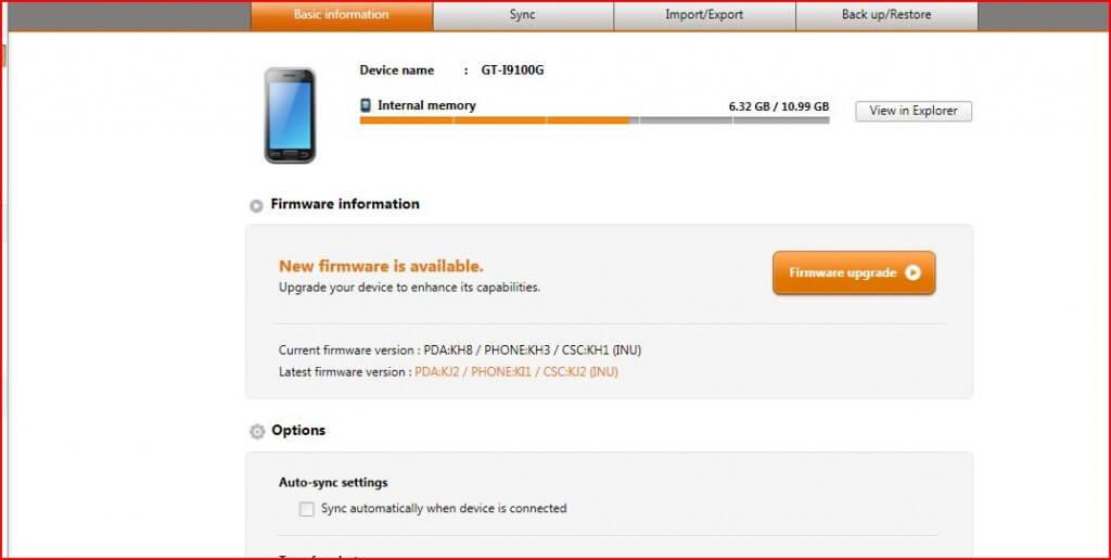 Aktualizácia Samsung Kies