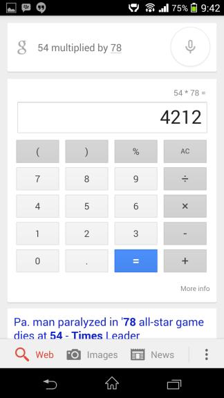 Výpočet matematiky Google Now