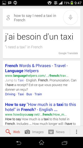 Preklad do francúzštiny Google Now