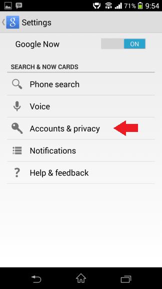 Účty a ochrana osobných údajov Google Now