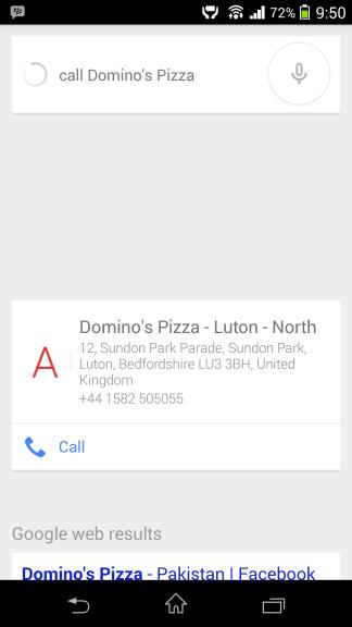 Zavolajte Dominosovi do služby Google Now