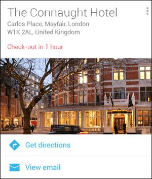 Rezervácia hotela Google Now
