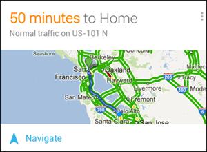 Dopravná karta Google Now