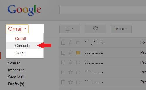 Kontakty v Gmaile
