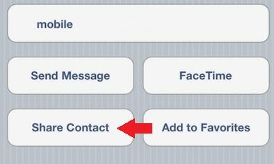 zdieľať kontakt iphone