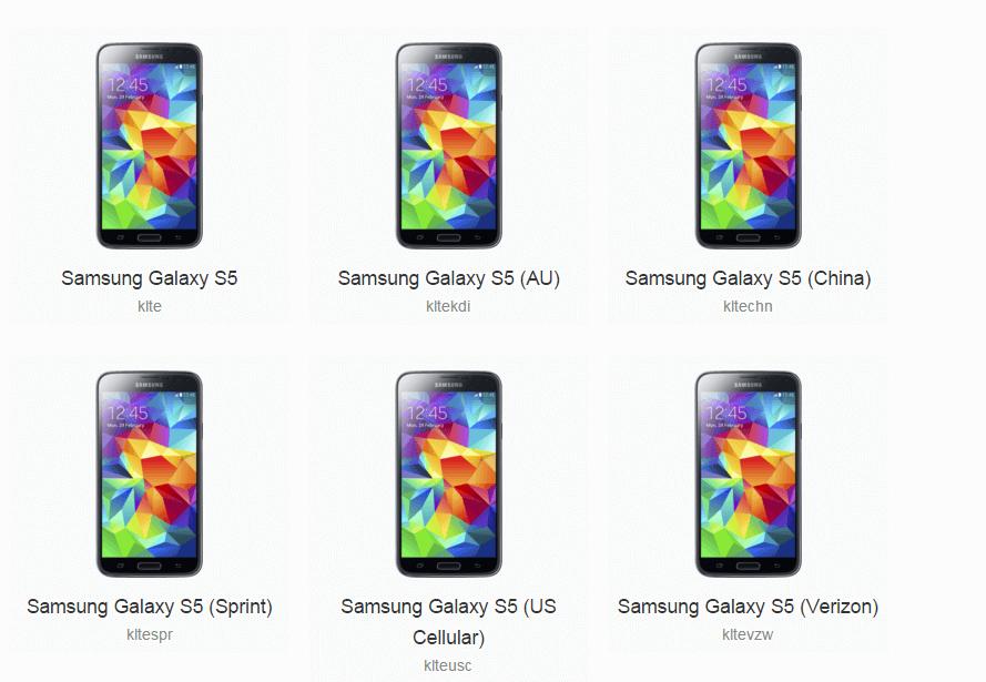 Samsung Galaxy S5 CyanogenMod súbory
