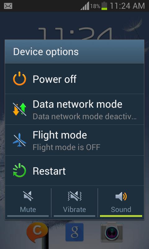 obrazovka vypnutia systému Android