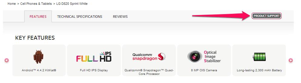 nexus 5 tlačidlo podpory produktu