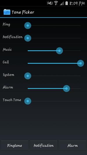Hlavná obrazovka výberu tónov