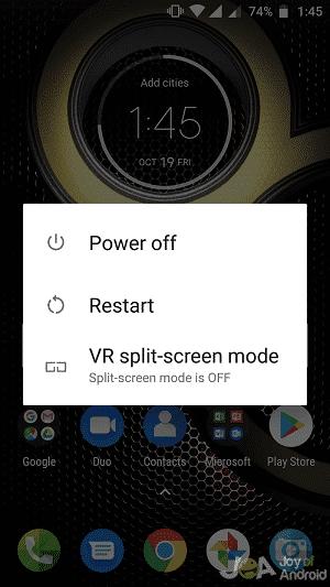 Možnosť vypnutia telefónu s Androidom